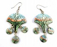 Hand Crafted Winter Tree Slate Dropper Earrings.